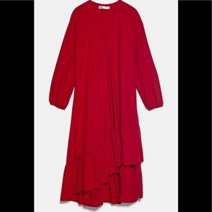 Zara Red Tiered Poplin Dress